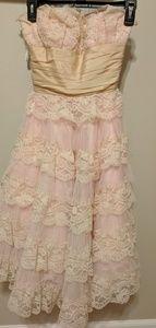 Strapless Pink Lace Betsey Johnson Dress